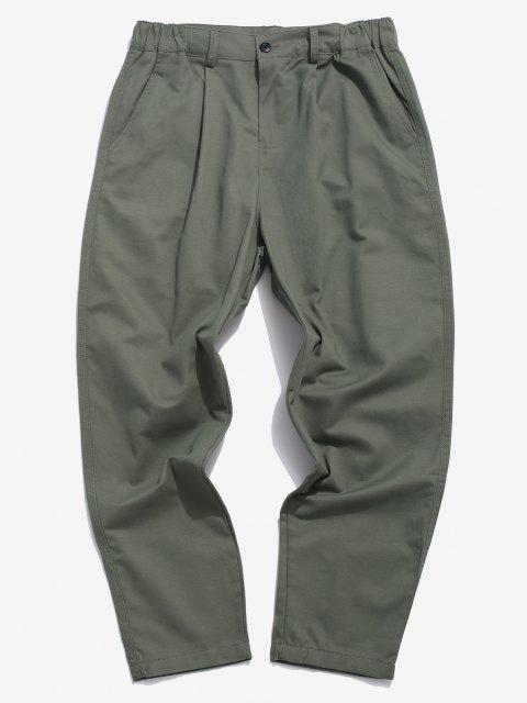 Einfarbige Gefälschte Tasche Gerade Hose - Grau 2XL Mobile