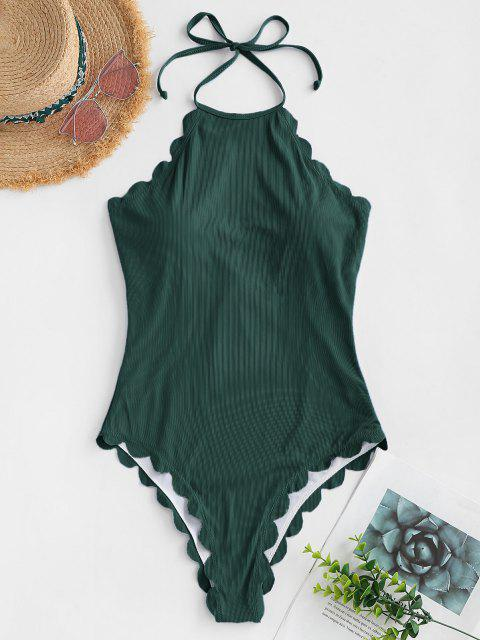 shop ZAFUL Scalloped Ribbed Backless One-piece Swimsuit - DEEP GREEN S Mobile