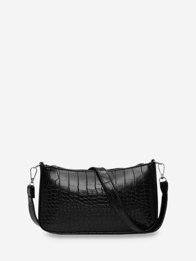 Animal Embossed Simple Style Sling Bag - Black