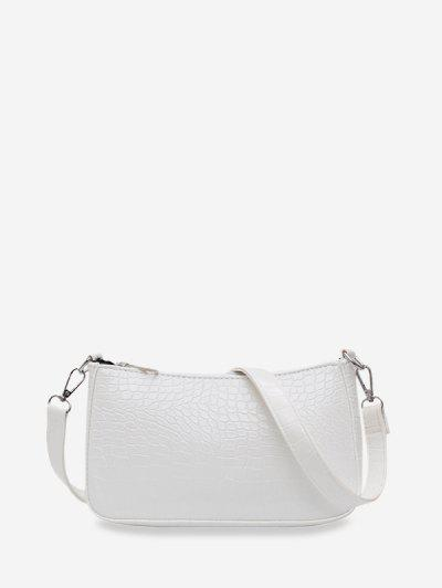 Animal Embossed Simple Style Sling Bag - White
