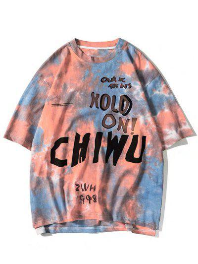 ZAFUL Letter Tie Dye Print Graphic T-shirt - Dark Orange 2xl