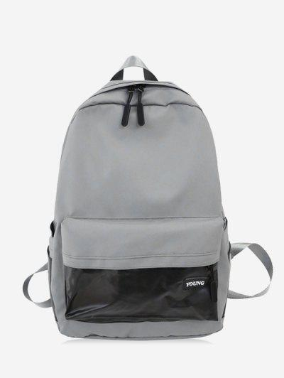 Brief Large Capacity School Backpack - Light Gray