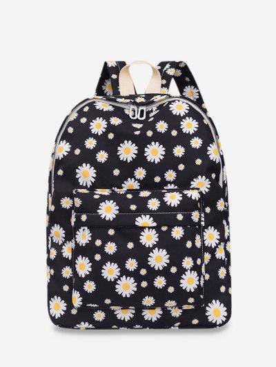 Daisy Floral Print Nylon Top Handle Backpack - Black