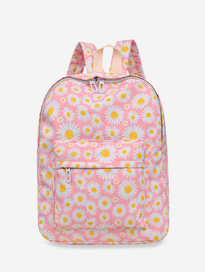 Daisy Floral Print Nylon Top Handle Backpack - Light Pink