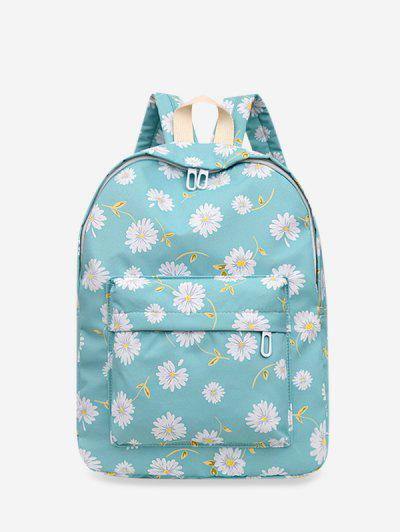 Daisy Floral Print Nylon Top Handle Backpack - Light Green