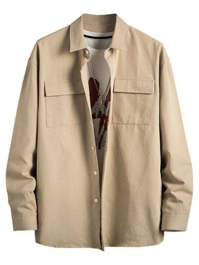 Plain Flap Pocket Basic Shirt - Light Khaki M