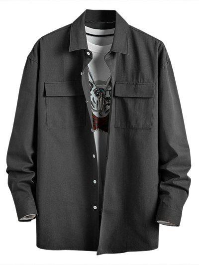 Plain Flap Pocket Basic Shirt - Dark Gray 4xl