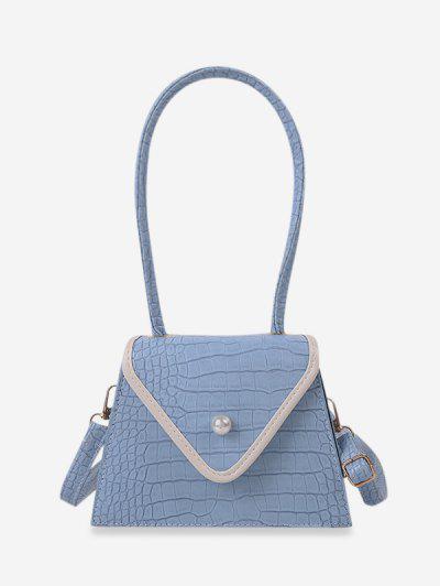 Bolsa De Ombro Texturizada Com Pérola Factícia - Azul Claro
