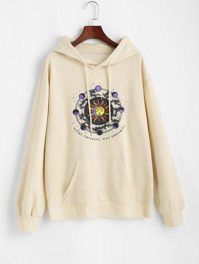 Front Pocket Sun Moon Hoodie - Light Yellow S