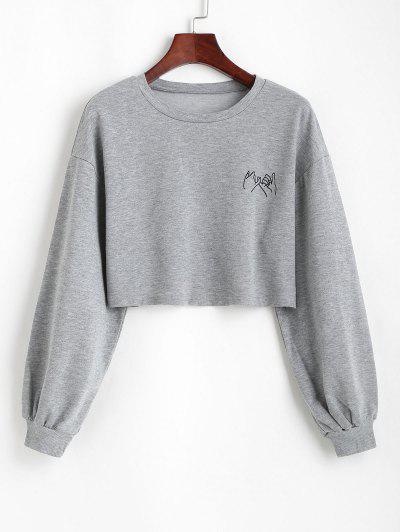 Sweat-shirt Court Geste Graphique - Gris S