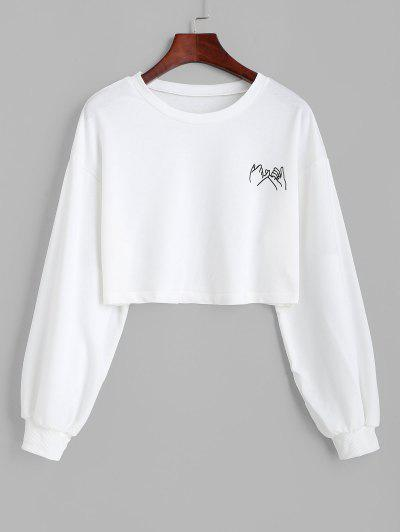 Cropped Gesture Graphic Sweatshirt - White M