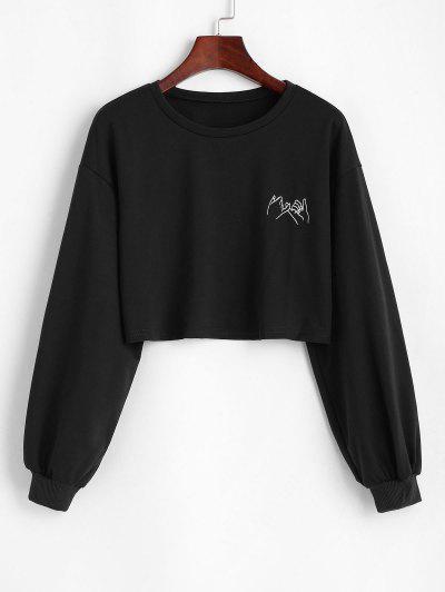 Cropped Gesture Graphic Sweatshirt - Black L