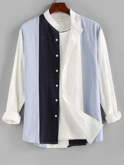 ZAFUL Long Sleeve Contrast Button Up Shirt - Blue M
