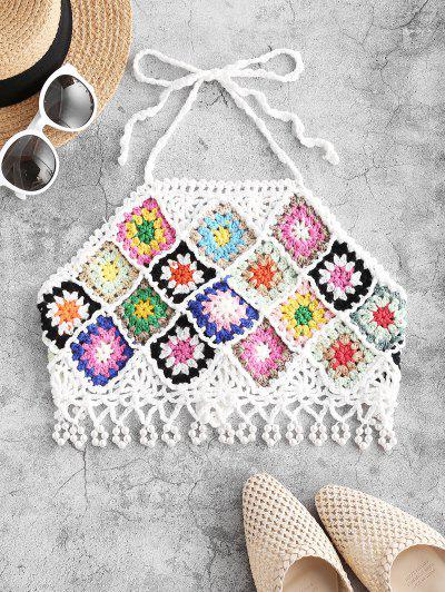 Faux Pearl Embellished Flower Crochet Halter Swim Top - White L