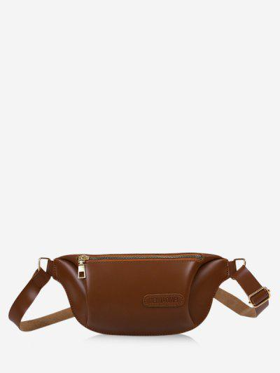 Solid Color Leather Chest Bag - Coffee