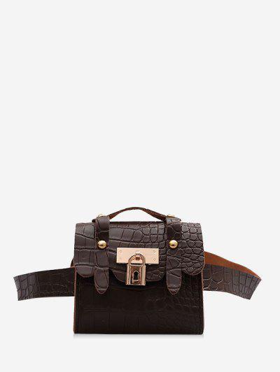 Textured Lock Mini Crossbody Bag - Deep Coffee