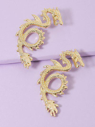 Dragon Carved Stud Earrings - Golden