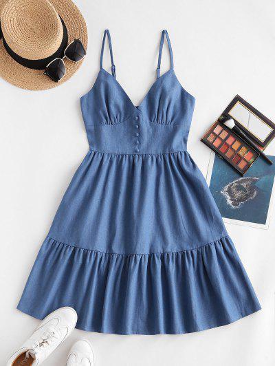 ZAFUL Chambray Tiered Smocked Back Cami Dress - Blue S