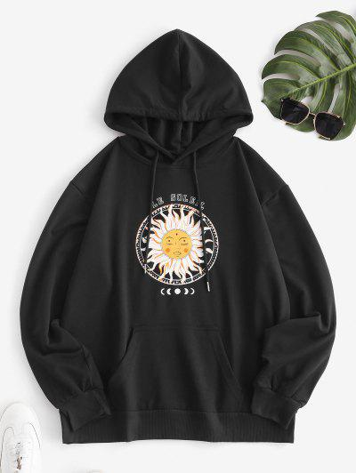 Drawstring Front Pocket Sun And Moon Hoodie - Black Xl