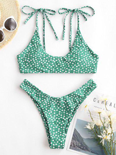 ZAFUL Ditsy Print Tie Shoulder High Leg Bikini Swimwear - Green S