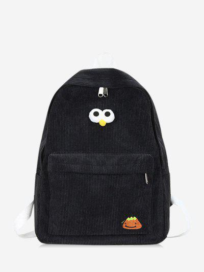 Cartoon Eyes Corduroy Solid Backpack - Black