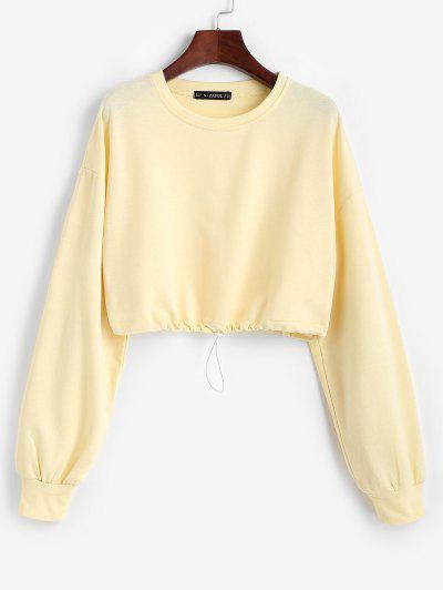 Toggle Drawstring Drop Shoulder Crop Sweatshirt - Light Yellow M