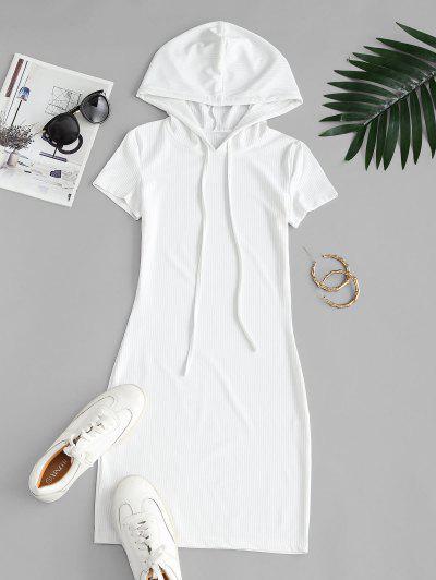 Hooded Ribbed Bodycon Mini Dress - White M