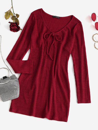Mini Robe Moulante Simple Tricotée Nouée En Avant - Rouge M