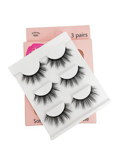 3Pairs Handmade False Eyelashes Set - Black G301