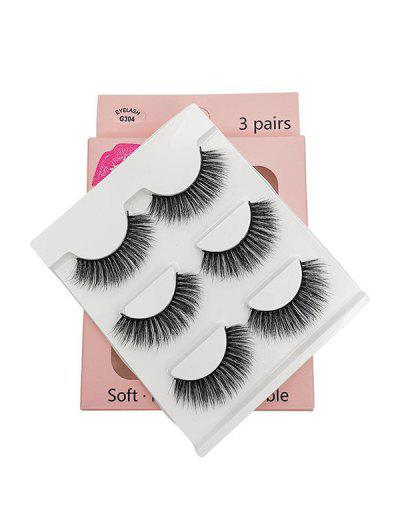 3Pairs Handmade False Eyelashes Set - Black G304