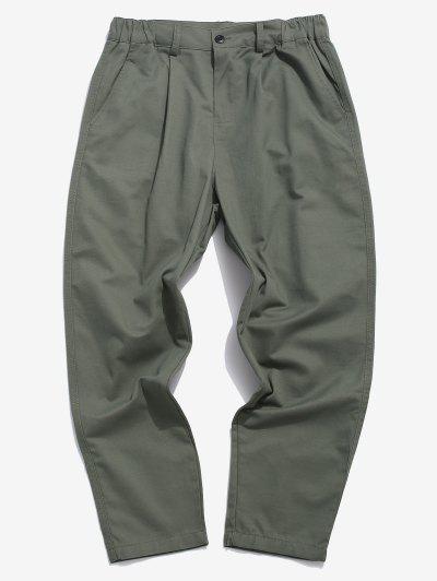Pantalones Rectos De Bolsillo De Imitación De Color Sólido - Gris M