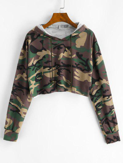 Camouflage Cropped Drawstring Hoodie - Deep Green L