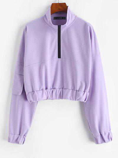 ZAFUL Flap Pocket Half Zip Cargo Sweatshirt - Light Purple M