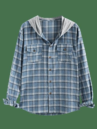 ZAFUL Plaid Flap Pocket Colorblock Hooded Shirt
