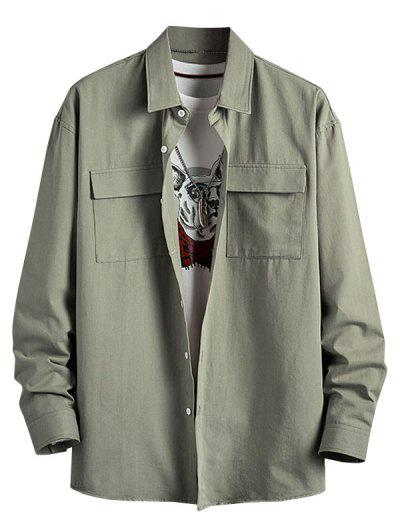 Plain Flap Pocket Basic Shirt - Light Green 3xl