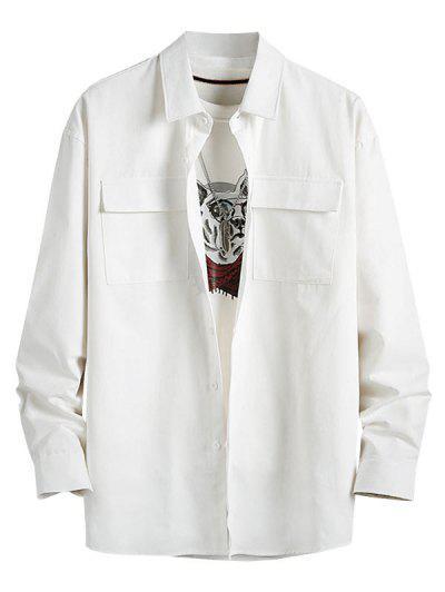 Plain Flap Pocket Basic Shirt - White 4xl