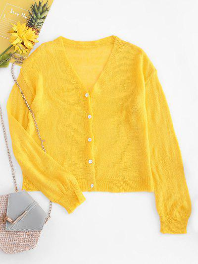 Drop Shoulder Casual Knitted Cardigan - Yellow
