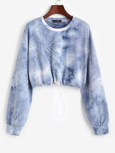 Toggle Drawstring Drop Shoulder Crop Sweatshirt - Blue S