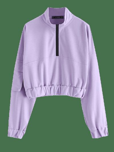 ZAFUL Flap Pocket Half Zip Cargo Sweatshirt