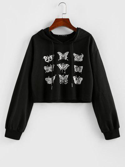 ZAFUL Cropped Drawstring Butterfly Print Hoodie - Black S