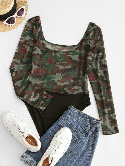 ZAFUL Contrast Camouflage Sheer Mesh Bodysuit - Deep Green L