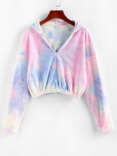 ZAFUL Tie Dye V Notch Drop Shoulder Hoodie - Multi-a M
