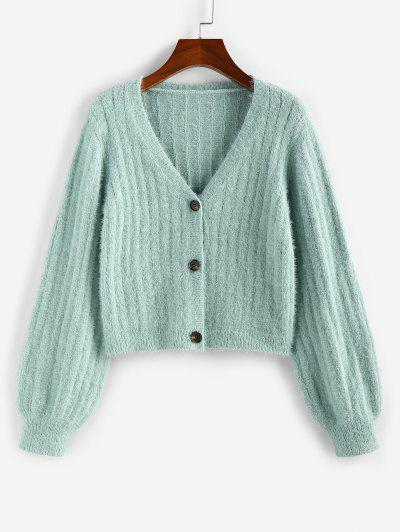ZAFUL Fuzzy Plunging Button Up Cardigan - Light Green M
