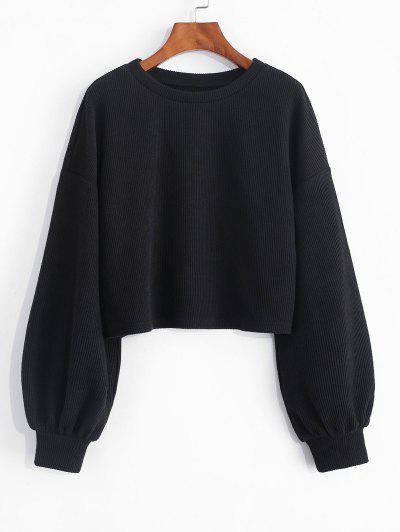 ZAFUL Cropped Lantern Sleeve Sweater - Black L