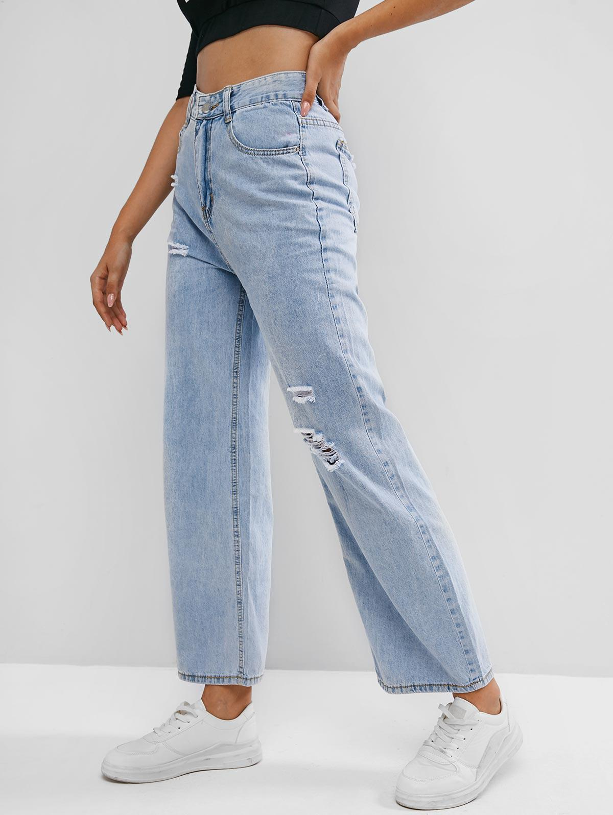 High Waisted Distressed Wide Leg Jeans