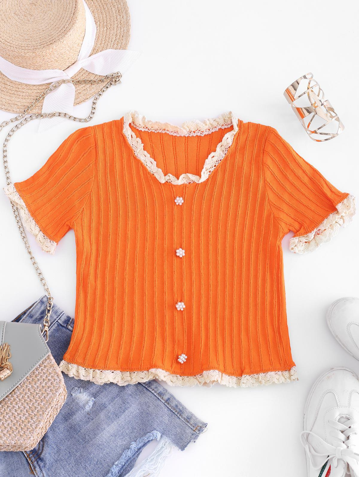 Pearly Buttons Scalloped Crochet Trim Knit Tee
