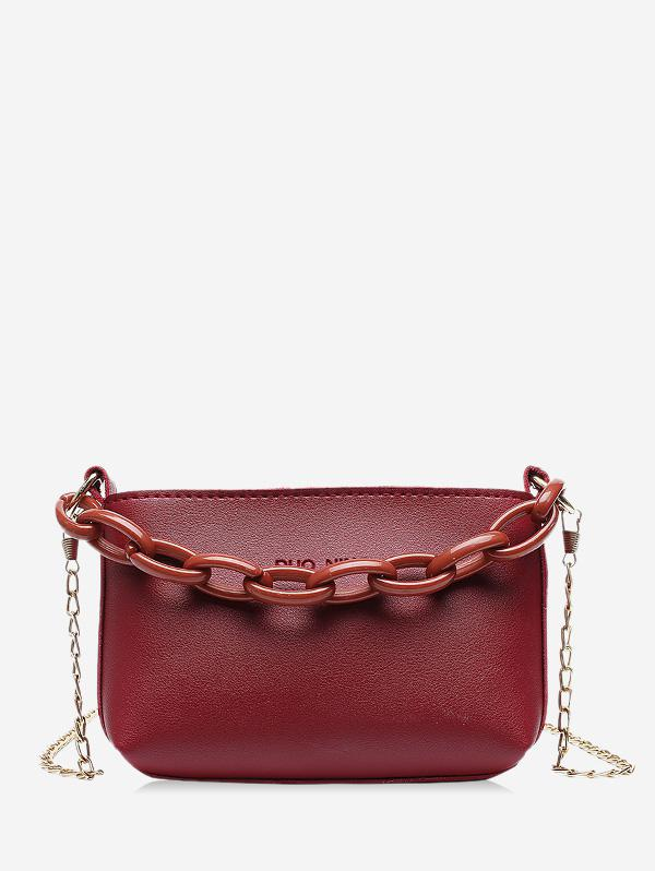 Pure Color Chain Embellished Leather Mini Sling Bag