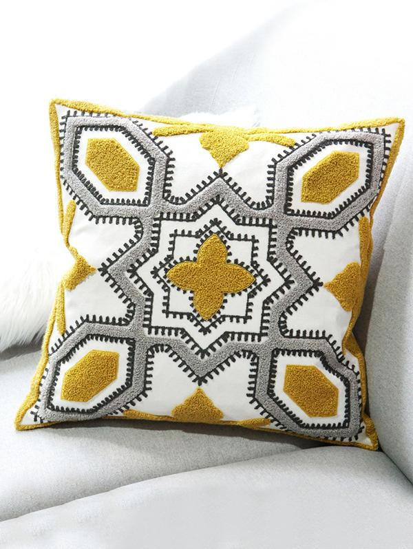 Geometric Snowflake Embroidered Print Decorative Pillowcase