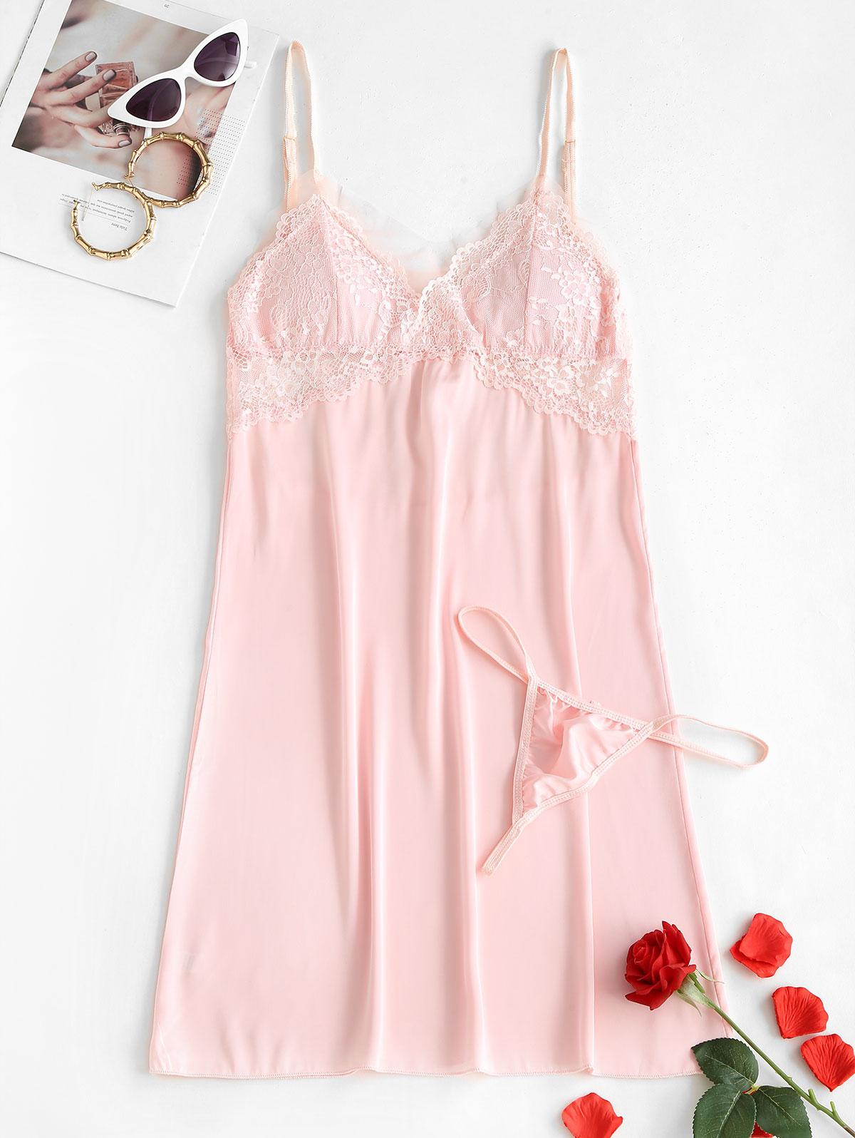 Padded Lace Mesh Panel Satin Sleep Dress
