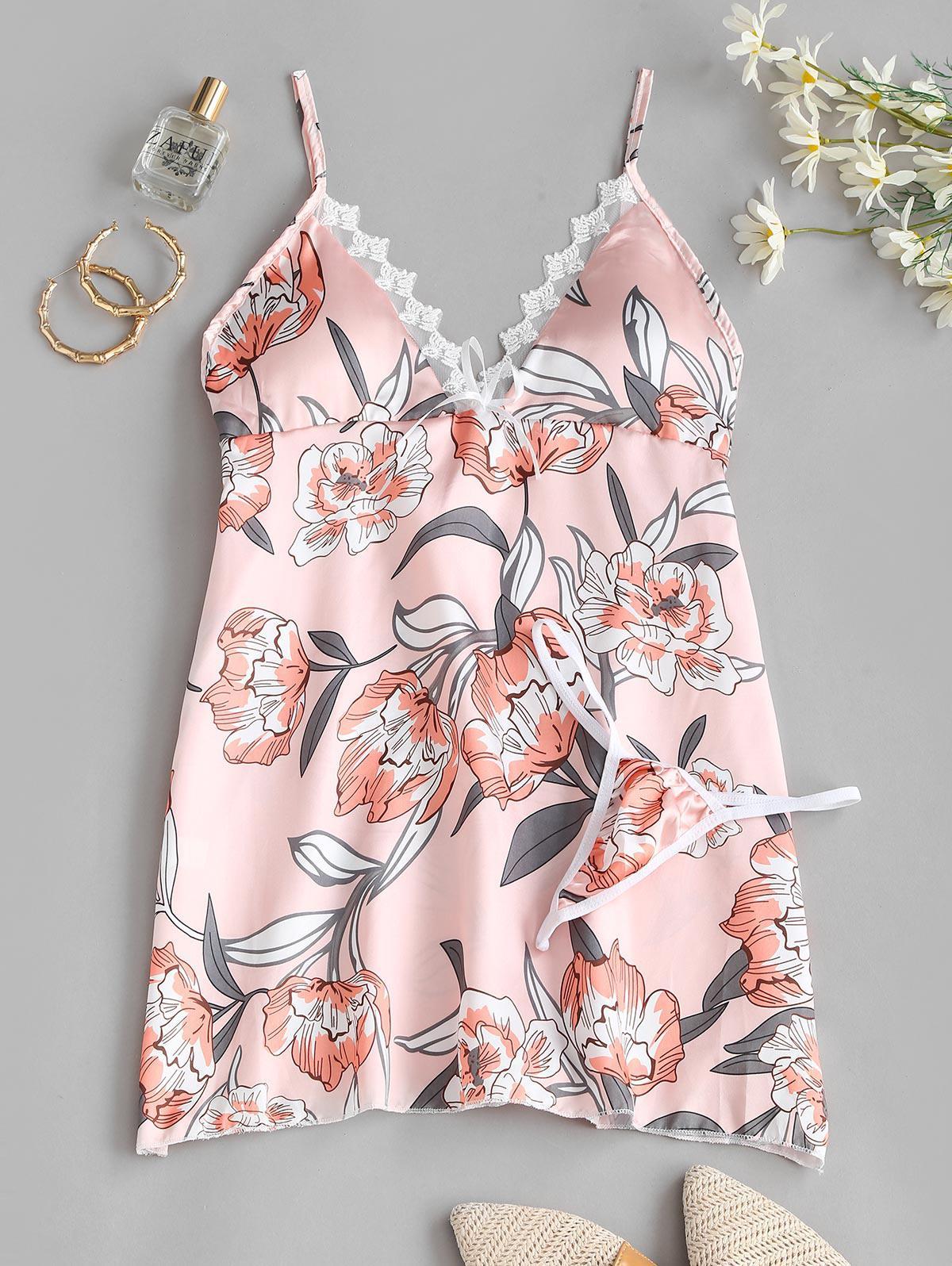 Mesh Trim Floral Satin Sleep Dress